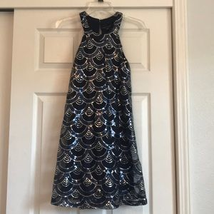 Navy sequin night out dress